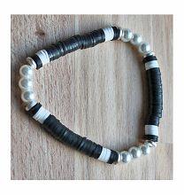 Armband Katsuki zwart-wit met pareltjes