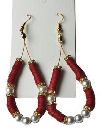 Oorbellen Katsuki rood met pareltje en strass kraaltjes