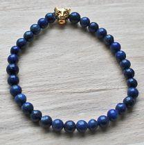 Armband Lapis Lazuli 6mm kralen met luipaard kraal, 19cm.