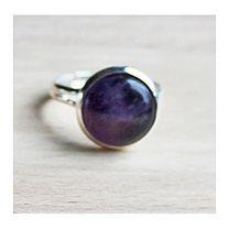 Ring met Amethist steen, mt 17, verstelbaar
