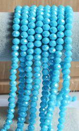 Snoer facetgeslepen glaskraal Sky Blue opaque parel coating 8x6mm
