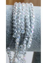 Snoer facetgeslepen kristalheldere 4mm kralen, AB coloured.