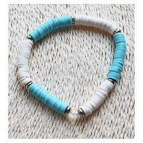 Armband Katsuki kralen bleu en wit