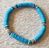 Armband Katsuki 6mm blauwe kralen en goudkleurige strass, 20cm