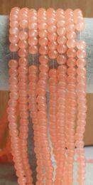 Snoer ronde glaskralen abrikoos kleur 6mm