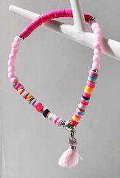 Armband 4mm Katsuki roze met kwastje, 18-20cm