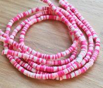 Snoer Katsuki of polymeer klei kralen roze / wit multi 4x1mm