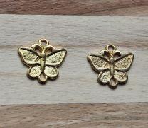 Tussenzetsel Vlinder goudkleurig, 2 oogjes
