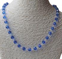 Halsketting Royal blauwe facetgeslepen kralen met kristal bicones