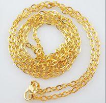 Goudkleurige ketting met fijne schakeltjes en slotje. 50cm.