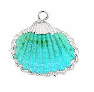 Hanger Kokkel schelp turkoois met zilver. Per stuk