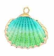 Hanger Kokkel schelp turkoois met goudkleur. Per stuk.