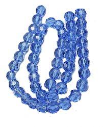 Kraal facet geslepen ronde licht saffierblauwe glaskraal van 10mm.