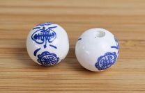 Delfts blauwe chinese kraal, 16mm. Per 5 stuks.