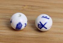 Delftsblauwe kraal Holland 12mm. Per stuk