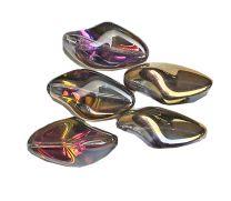 Glaskraal langwerpig violet-goud, 23x13mm. Per kraal.