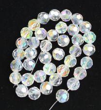 Snoer facetgeslepen ronde kristal glaskralen 8 mm. (40 stuks)