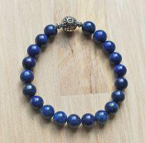 Armband Lapis Lazuli 10mm kralen natuurlijk,  met zilveren kraal