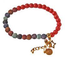Armband 6mm lavakralen en koraalkleurige kralen met bedels