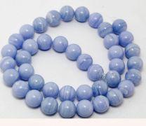Kraal Agaat zachtblauw gestreept, 12mm. Per stuk