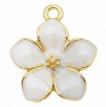 Hanger witte bloem met goudkleur