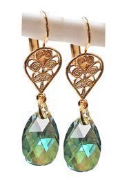 Oorbellen sierlijke goudkleurige druppel met Iers groene Swarovski kristal hanger