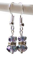 Oorbellen kristal kralen facetgeslepen Swarovski style zacht lila