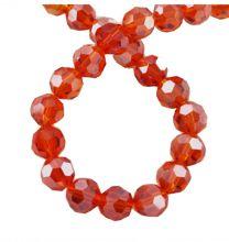 Snoer facetgeslepen glaskralen oranje/rood 4mm met parelglans