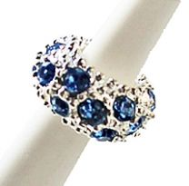 Pandora style kristal kraal wit - licht saffier blauw, 11x6mm