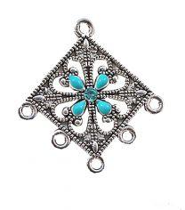 Hanger of tussenzetsel filigrain Driehoekig zilverkleurig met 5 oogjes. Per stuk.