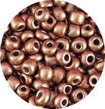 Rocailles mat koper, 6/0. Per 10 gram