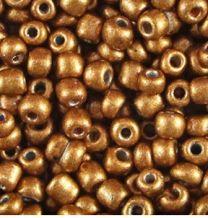 Rocailles mat warm goudbruin 6/0. Per 10 gram.