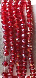 Snoer facetgeslepen ronde transparant licht rode glaskralen 6mm.