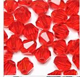 Glaskraal bicone transparant licht rood 4mm, per 20 stuks.