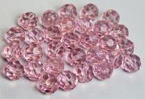 Zakje facetgeslepen Rosaline roze kralen  6mm. Per 50 stuks.