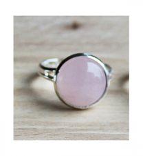 Ring met rozekwarts steen, mt 17, verstelbaar
