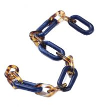 Acryl schakelketting donkerblauw met luipaardkleur, 1meter