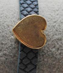 Schuiverkraal DQ goudkleurig hartje15mm
