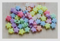 Acryl sterretjes multi kleur, 10x10x15mm. Per 20 stuks.