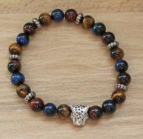 Armband Driekleur - tijgeroog, kattenoog, valkenoog 8mm