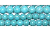 Snoer blauwe turkoois kleur kralen 8mm