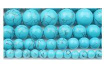 Snoer howliet 4mm kralen in blauwe turkoois kleur