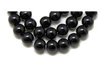 Snoer glaskraal zwart opaque, 4mm. 80 st.